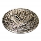 Country Western Flying Eagle Rope Edge Silver Color Belt Buckle