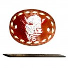 Red Leather Tony Lama Hair Barrette with Stick