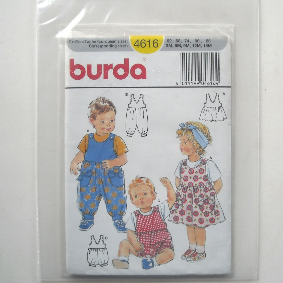 Baby Boy Girl Infant Toddler Romper Burda Sewing Pattern 4616