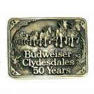 Budweiser Clydesdales 50 Years Award Design Solid Brass Belt Buckle