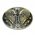 Montana Silversmiths Angel Wings With Cross Western Belt Buckle