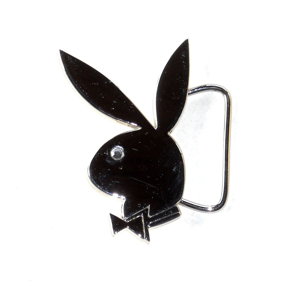 Playboy Bunny Chrome Silver Color Belt Buckle