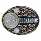 Duckaholic Duck Commander Montana Silversmiths Belt Buckle