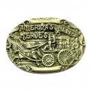 America's Heroes Fire Dept Solid German Silver Belt Buckle