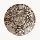 State Of Oregon Militia Brass Color Belt Buckle