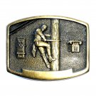 Phone Lineman BTS Solid Brass Belt Buckle