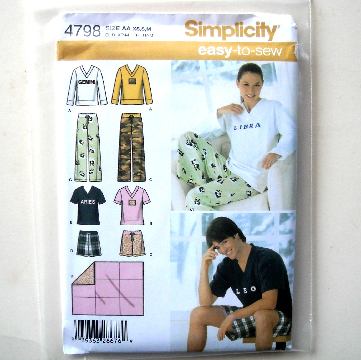 Misses Mens Pants Shorts Top XS S M Simplicity Sewing Pattern 4798