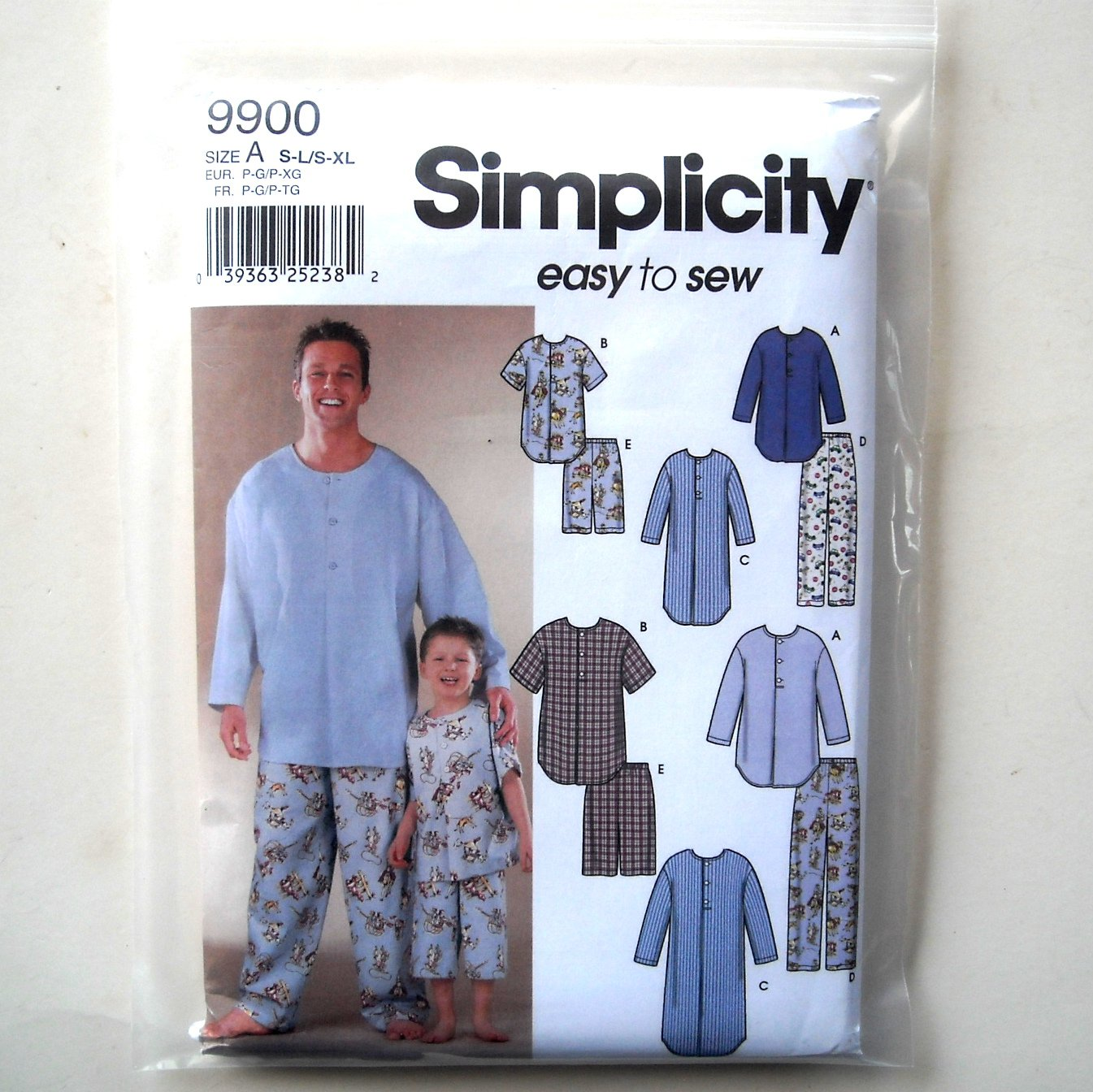 Boys Mens Pajamas Nightshirt S L XL Simplicity Sewing Pattern 9900
