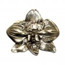 Hawaii State Flower Hibiscus Solid Pewter Belt Buckle
