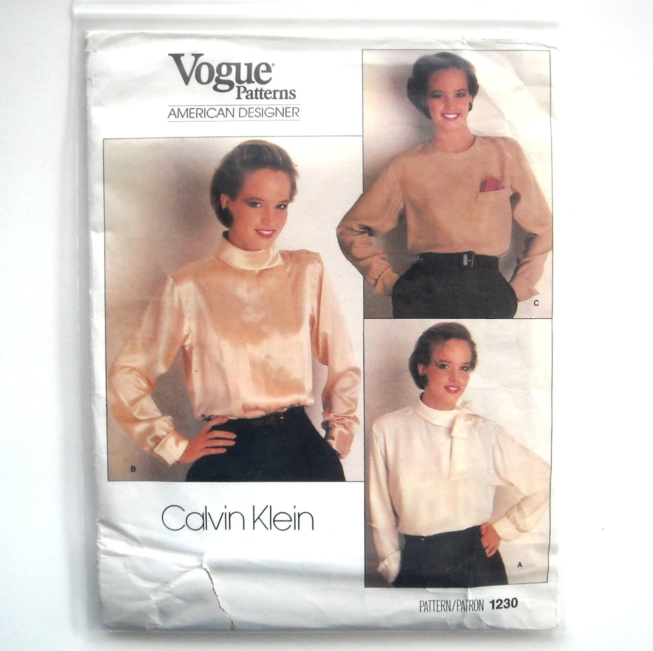 Calvin Klein Misses Blouse Vogue Sewing Pattern 1230