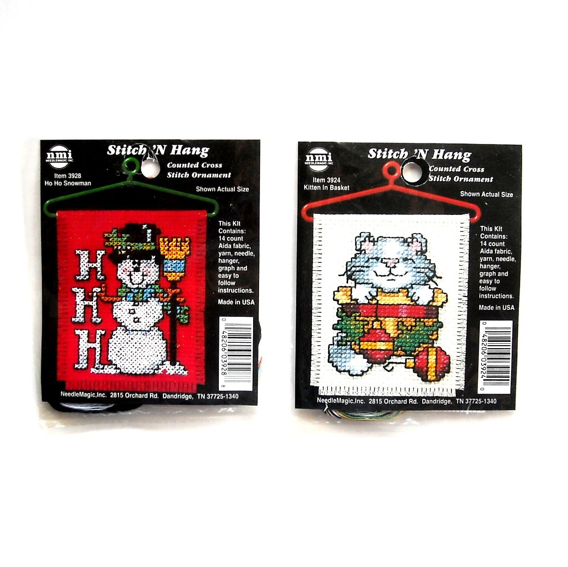 2 Stitch N Hang Counted Cross Stitch Ornament Kits