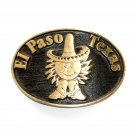 El Paso Texas Solid Brass Vintage Belt Buckle
