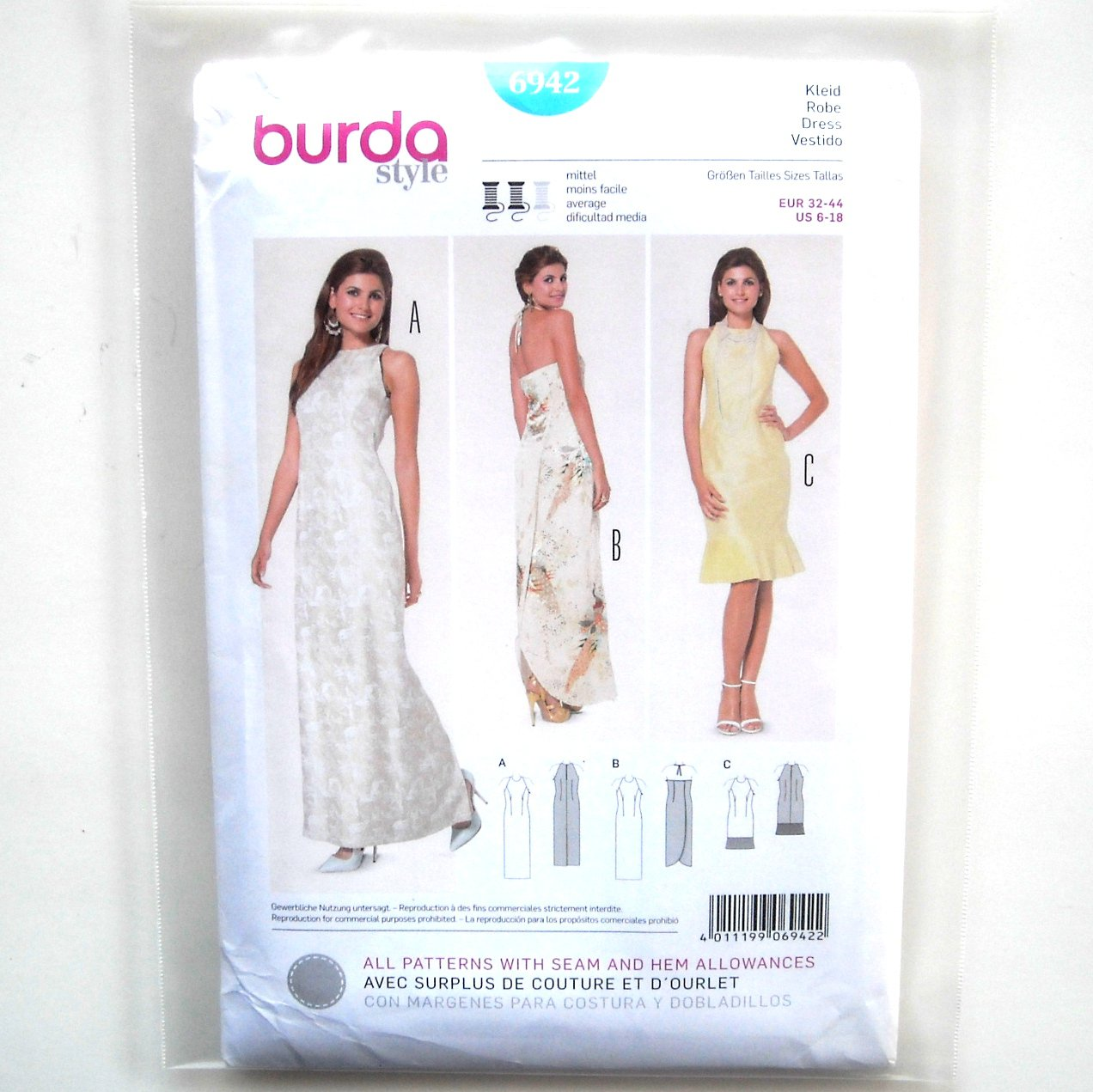 Misses Evening Dress 6 8 10 12 14 16 18 Burda Sewing Pattern 6942