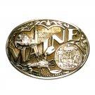 Maine State Seal ADM Award Design Vintage Solid Brass Belt Buckle