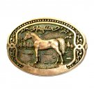 Arabian Tony Lama Horse Breeder Brass Belt Buckle