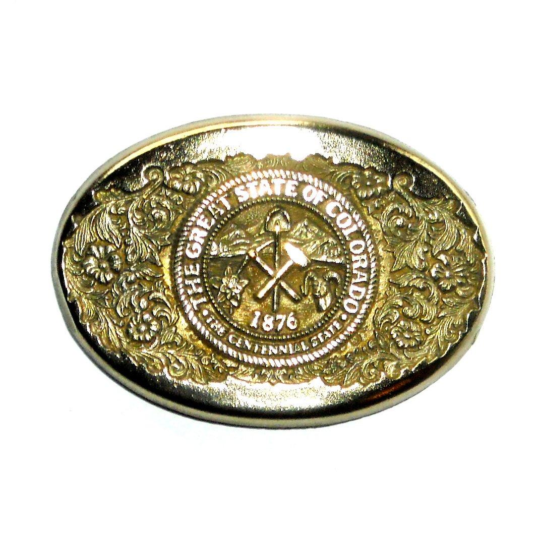 Colorado State Seal Award Design Vintage Brass Belt Buckle