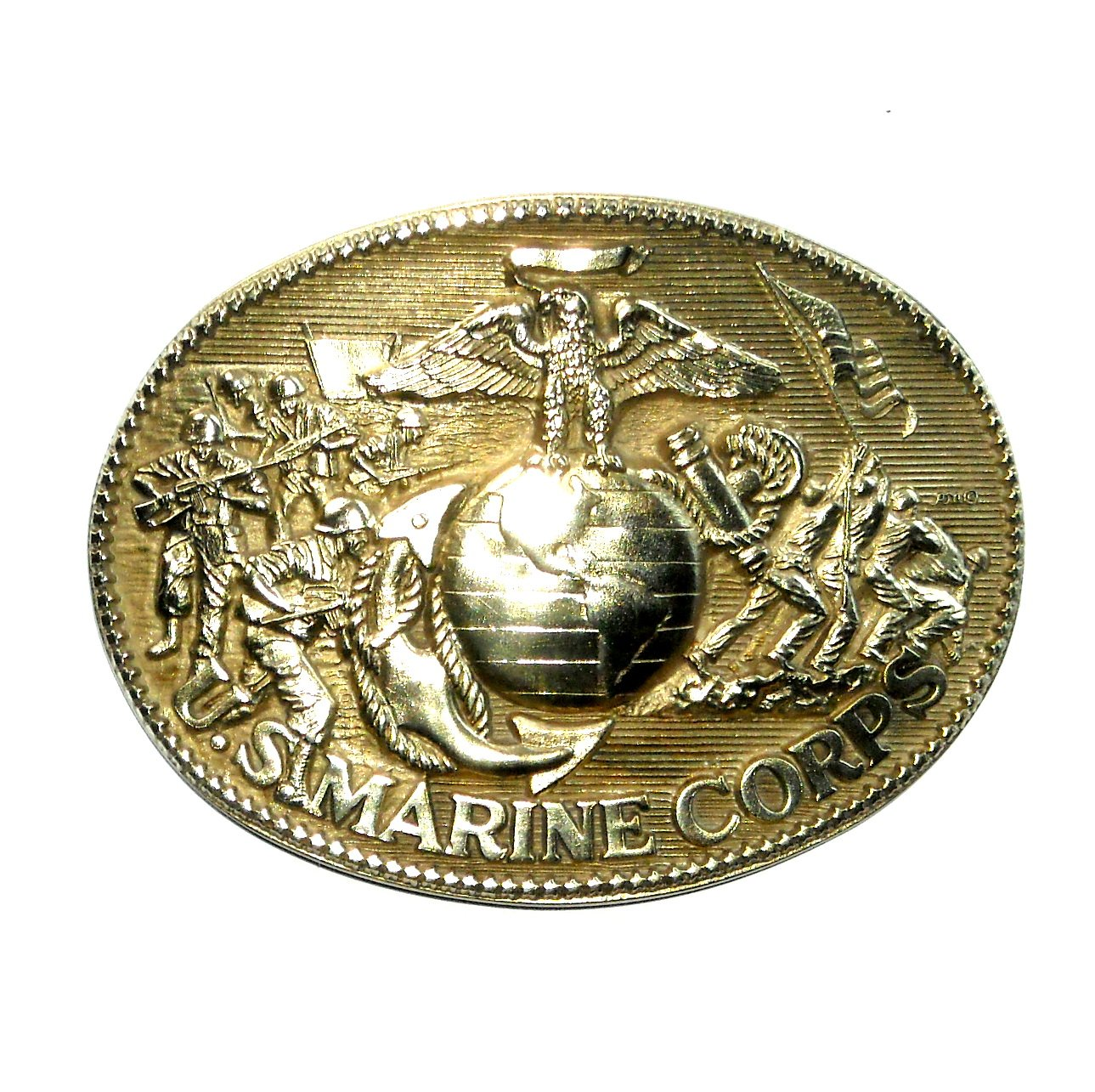 US Marine Corps ADM Vintage Solid Brass Belt Buckle