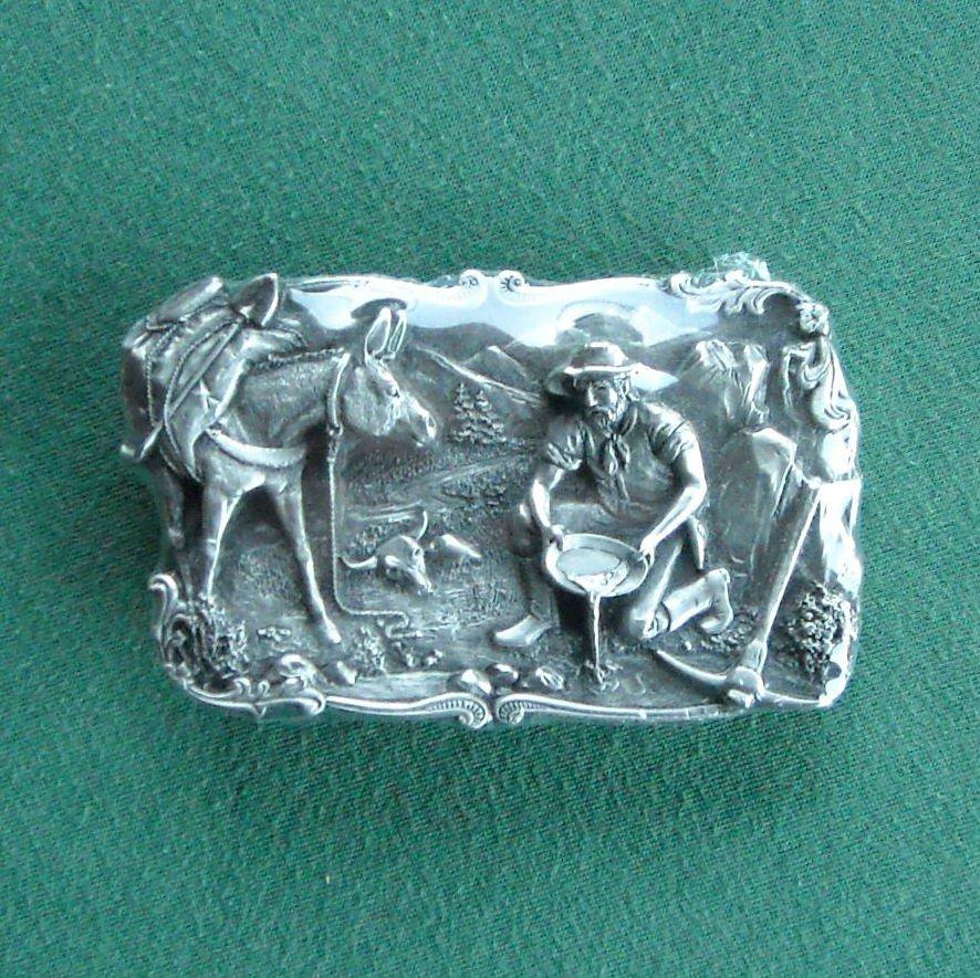 Vintage Siskiyou Pewter Gold Panning Belt Buckle 1981 NIB