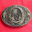 Tony Lama First Edition Great Seal State Of Connecticut Brass Belt Buckle