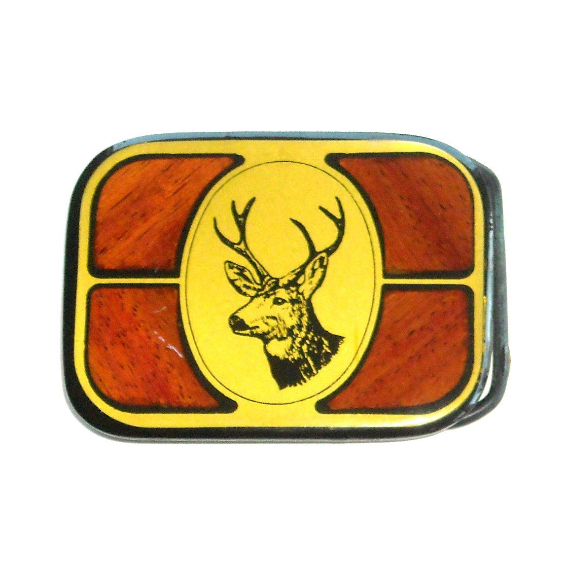 Whitetail Deer Trophy Vintage Harmony Metal Solid Brass Wood Belt Buckle
