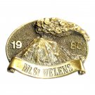 Washington Mt St Helens Brass Color Vintage Belt Buckle
