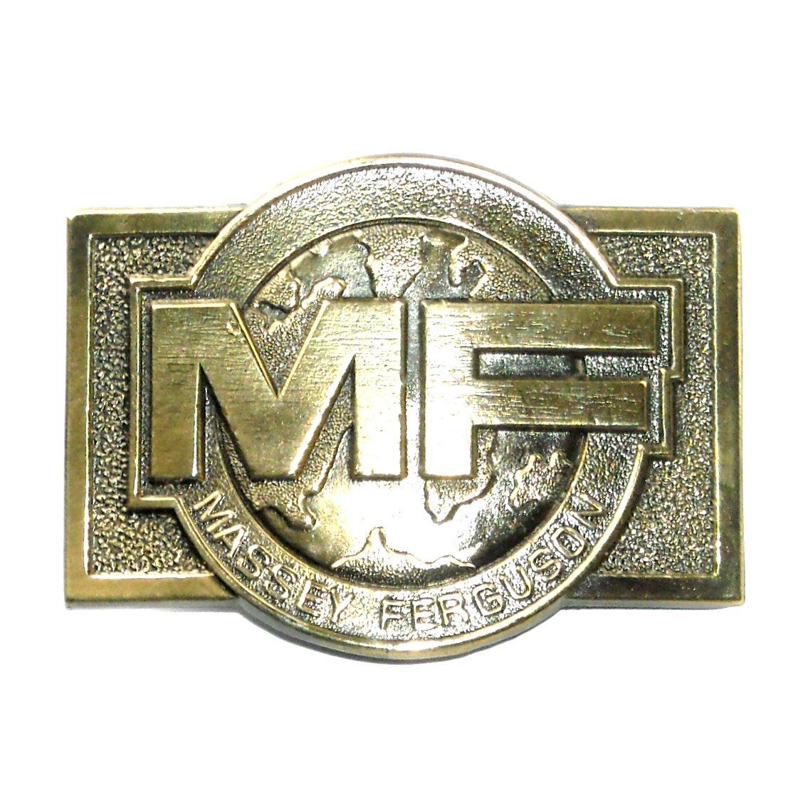 Vintage MF Massey Ferguson 1970s Global Logo Great American Belt Buckle