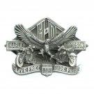 Harley Davidson 1991 Live Free USA Solid Pewter Vintage Belt Buckle