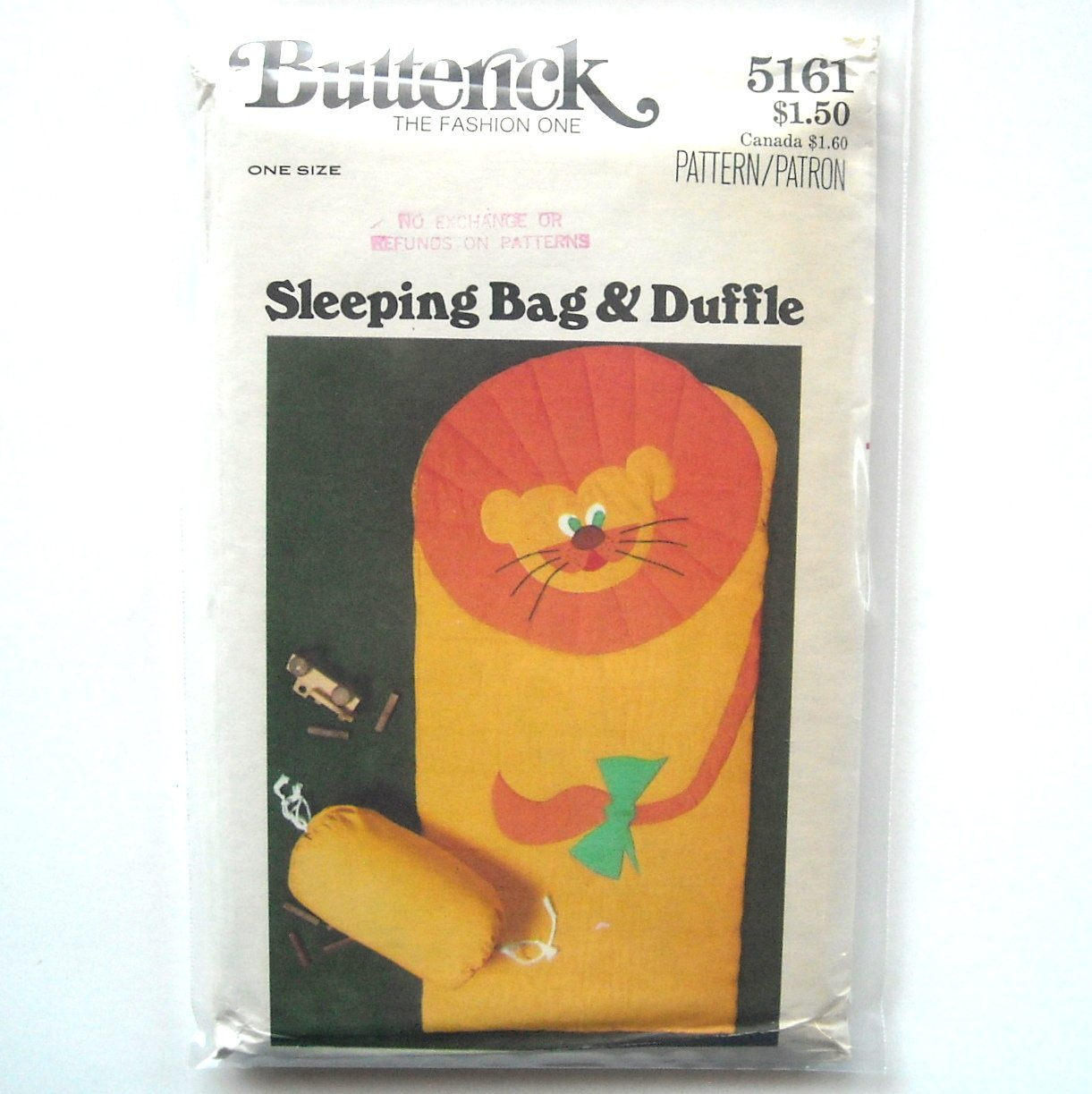 Sleeping Bag & Duffle Vintage Butterick Sewing Pattern 5161