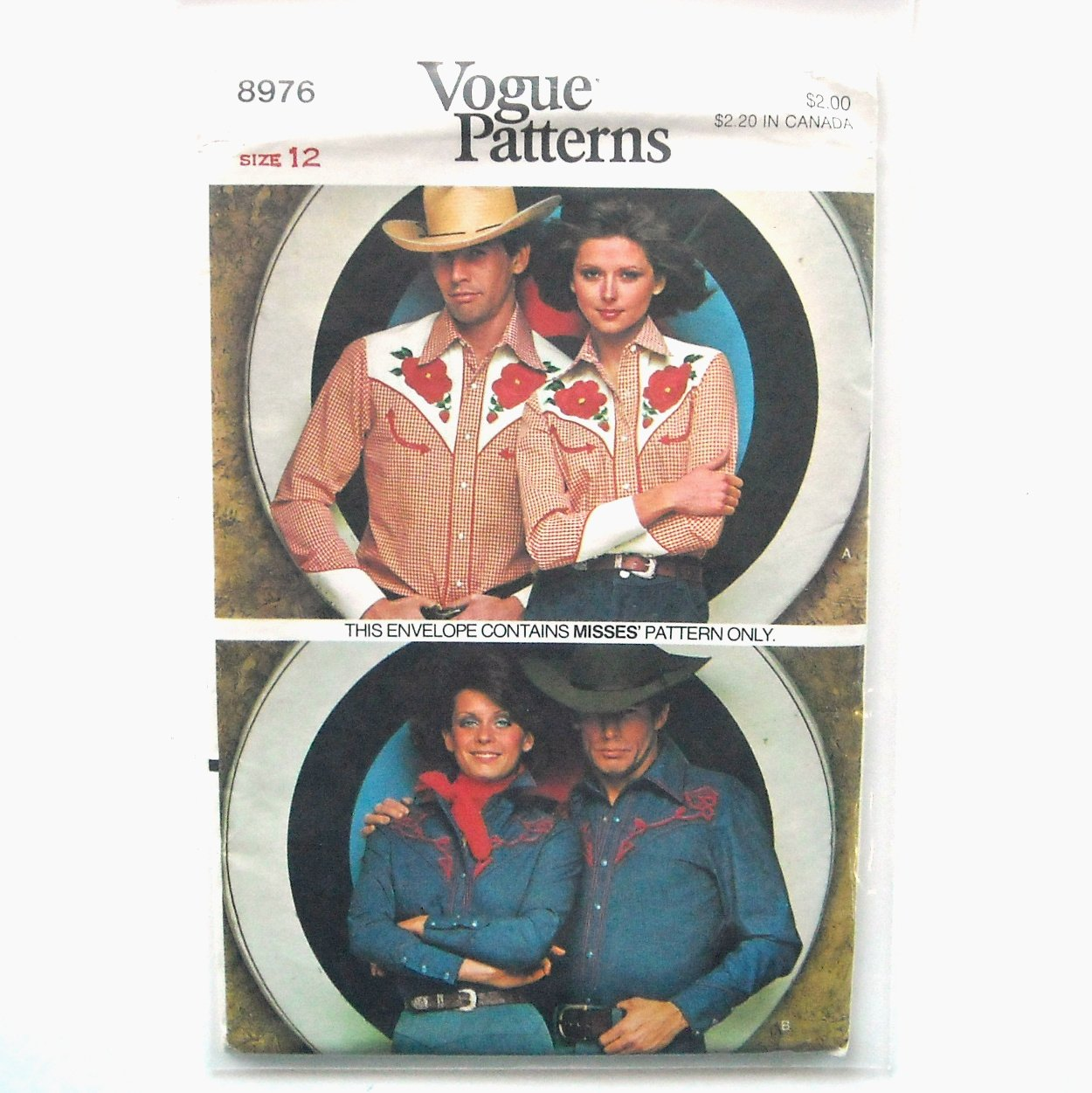 Misses Western Shirt Vintage Vogue Sewing Pattern 8976