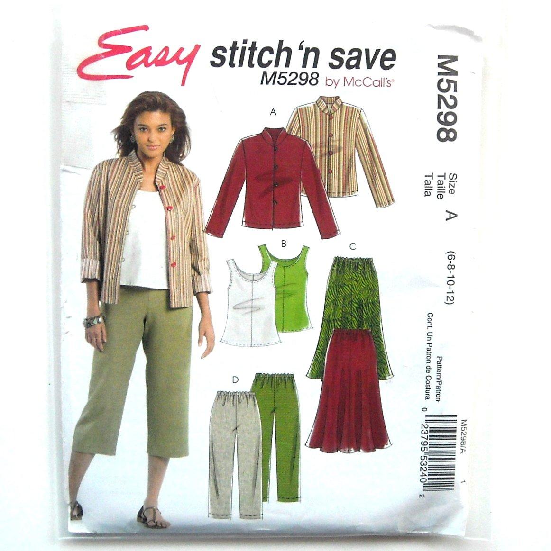 Miss Petite Unlined Jacket Top Skirt Pants McCalls Sewing Pattern M5298