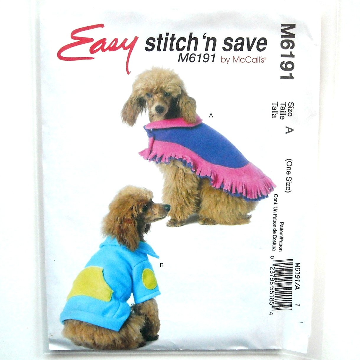 Dog Poncho Top McCalls Stitch Save Sewing Pattern M6191