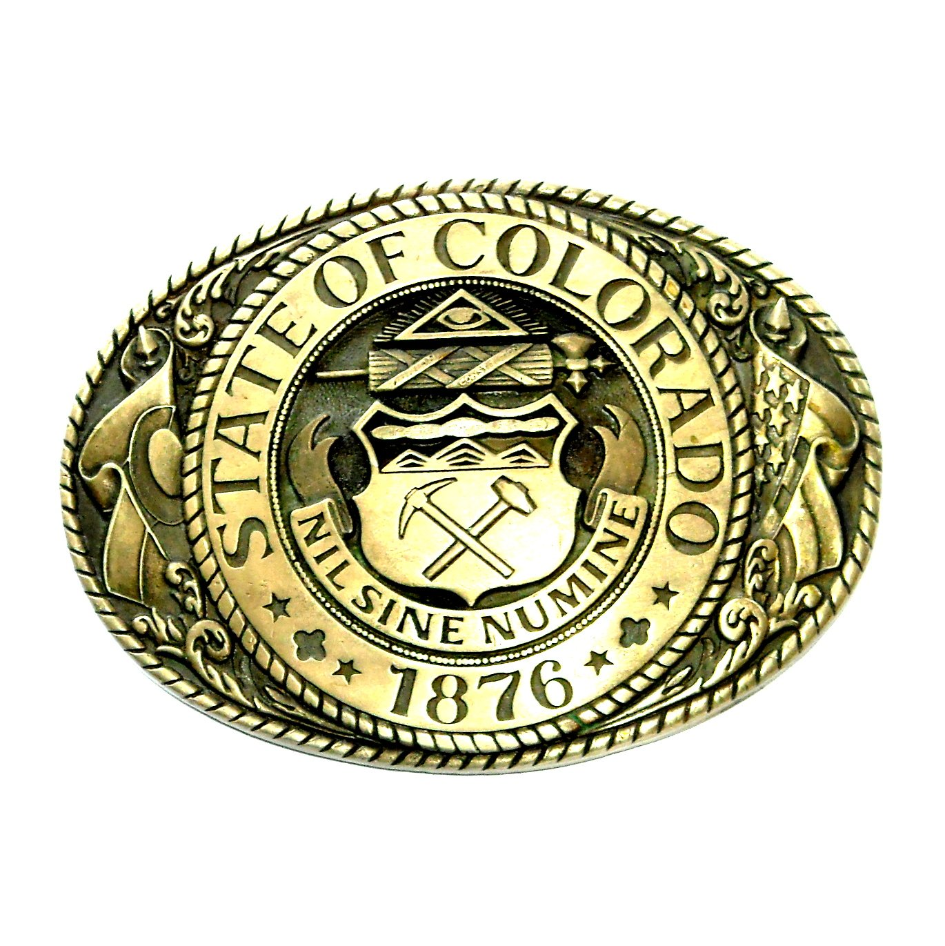 Colorado State Seal Tony Lama Solid Brass Belt Buckle