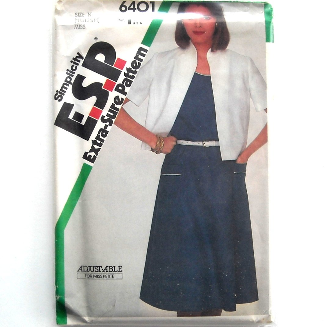 Misses Pullover Dress Unlined Jacket Simplicity ESP Sewing Pattern 6401