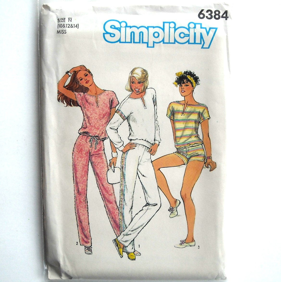 Misses Pullover Top Pull On Pants Shorts Vintage Simplicity Sewing Pattern 6384