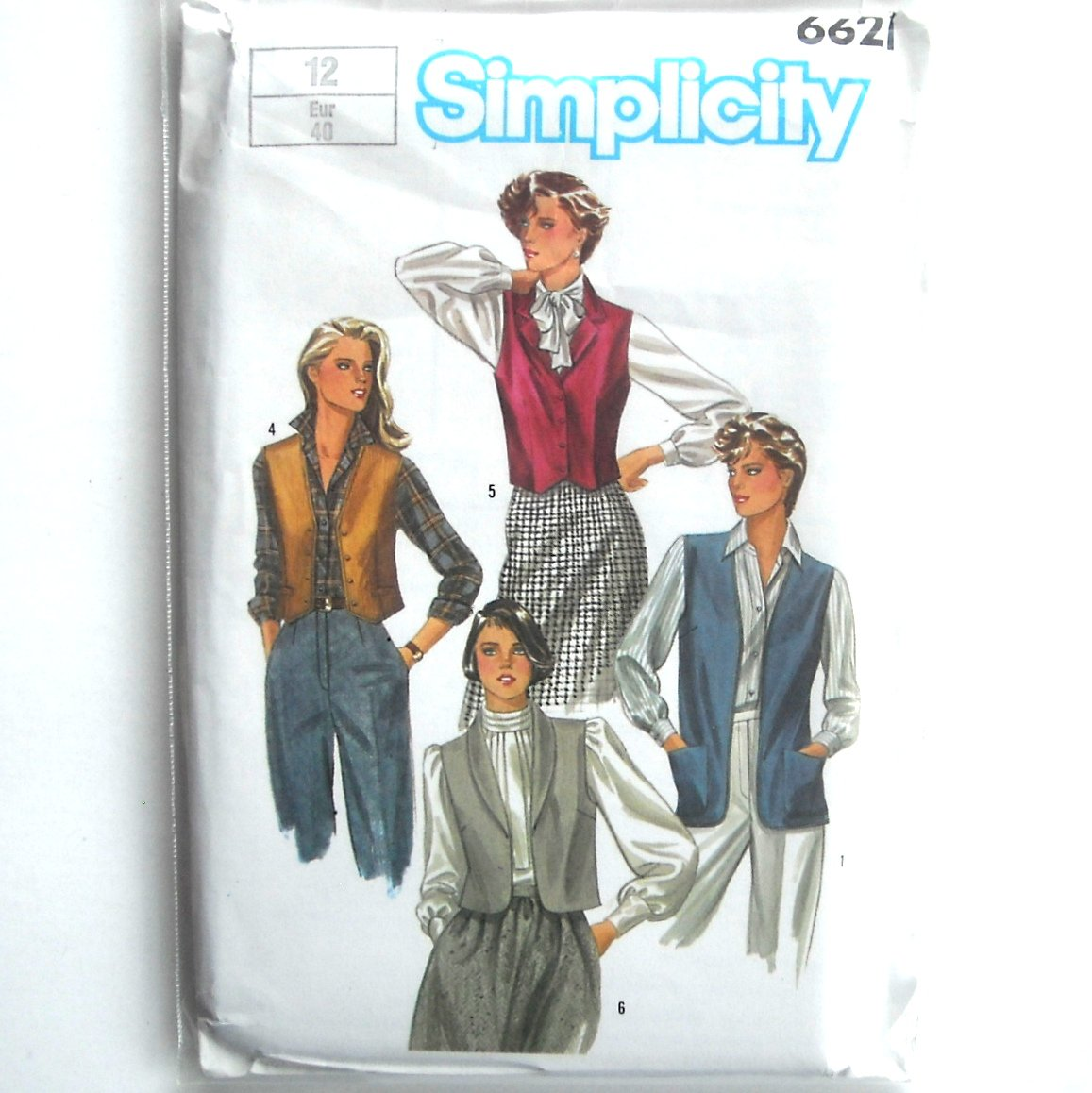 Misses Vests Vintage Simplicity Sewing Pattern 6621