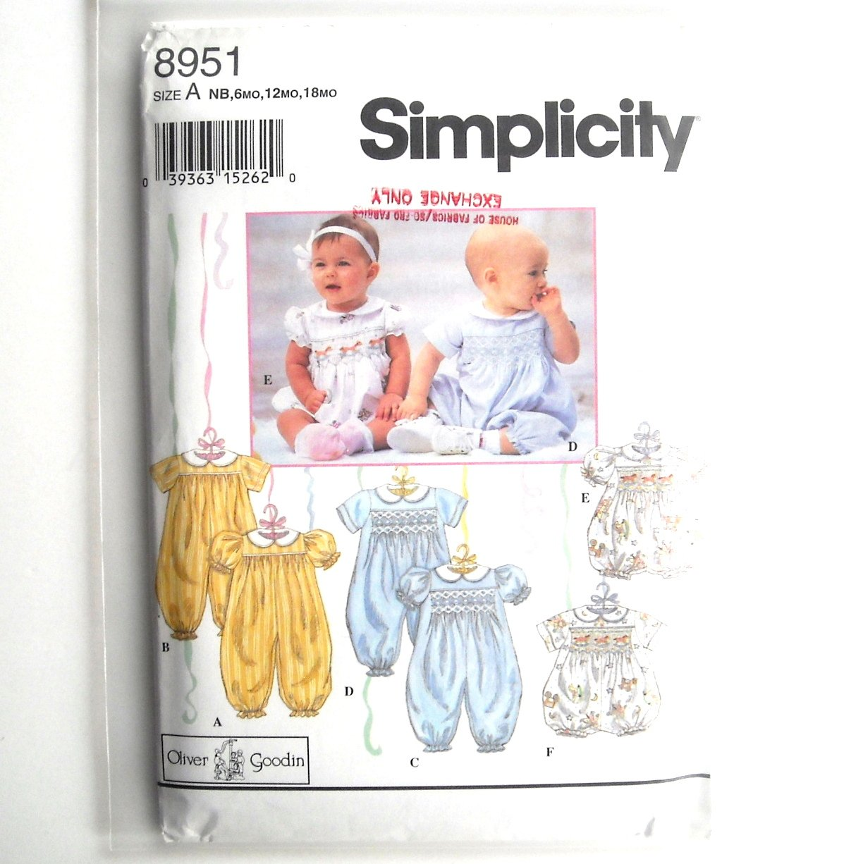 Babies Romper 1994 Oliver Goodin Simplicity Sewing Pattern 8951