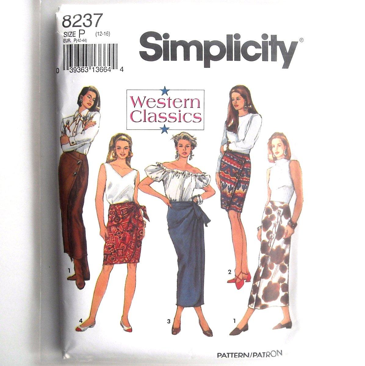 Western Classics Mock Wrap Skirt Simplicity Sewing Pattern 8237