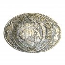 Indiana State Seal Vintage Tony Lama Solid Brass Belt Buckle