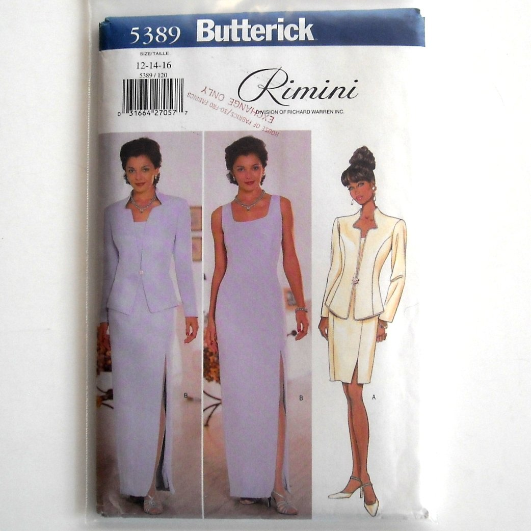 Misses Jacket & Dress 12 14 16 Vintage Butterick Sewing Pattern 5389