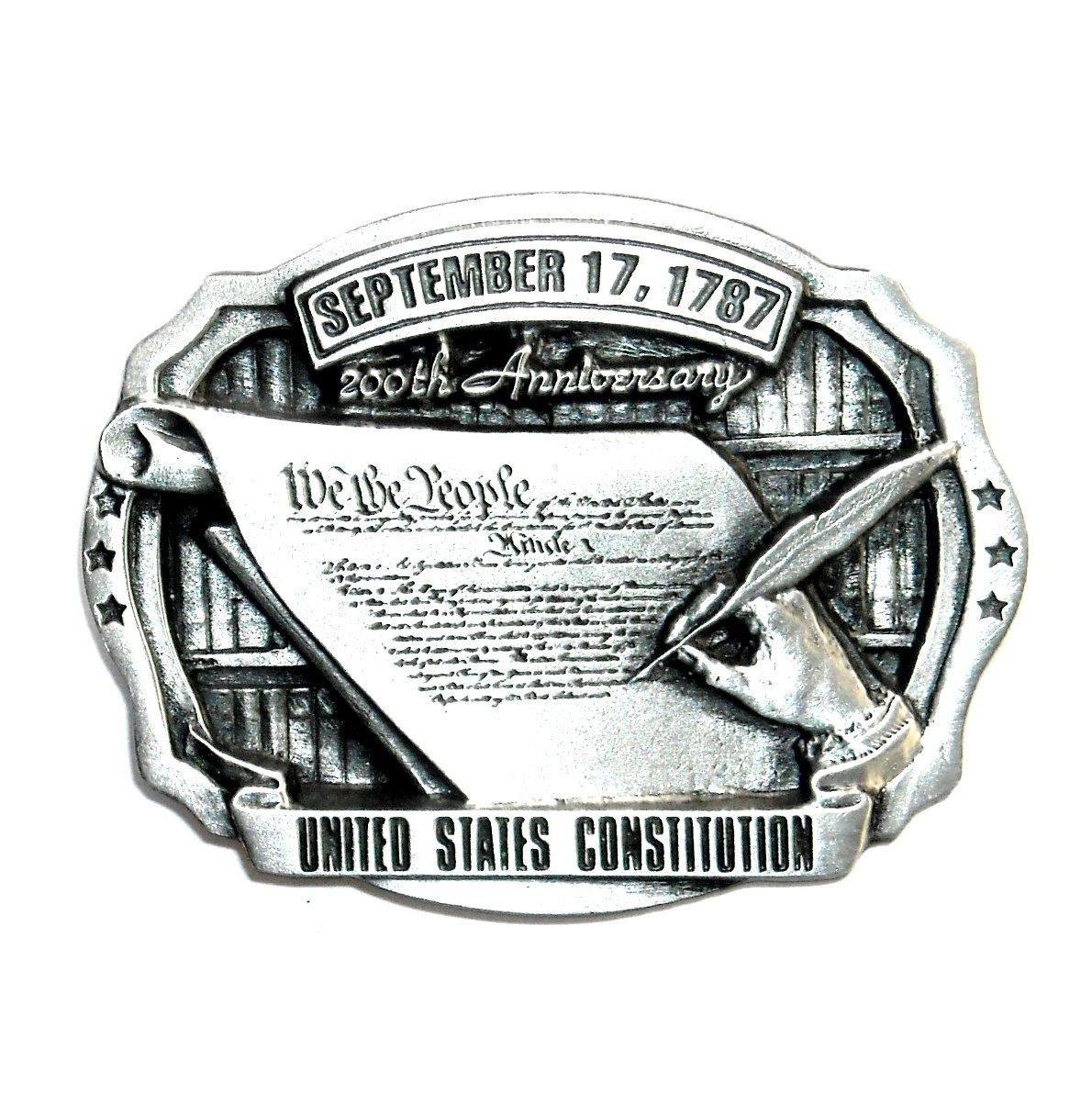 We The People US Constitution Vintage C+J Pewter Belt Buckle