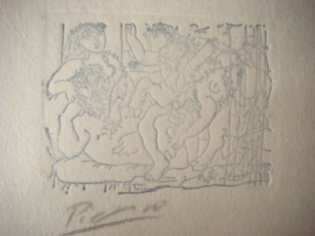 Pablo Picasso Etching Signed in Pencil ,original , Escultor y vacantes