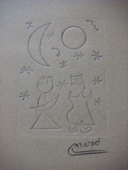 Joan Miro , Certified wax stamp # 198 year 1943 AMOR BAJO SOL Y LUNA