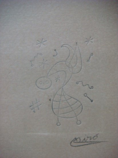 Joan Miro , Certified wax stamp # 319 year 1943 UN PAJARO