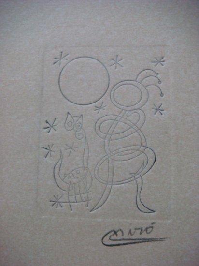 Joan Miro , Certified wax stamp # 198 year 1940 MUJER PAJARO Y PERRO ANTE EL SOL