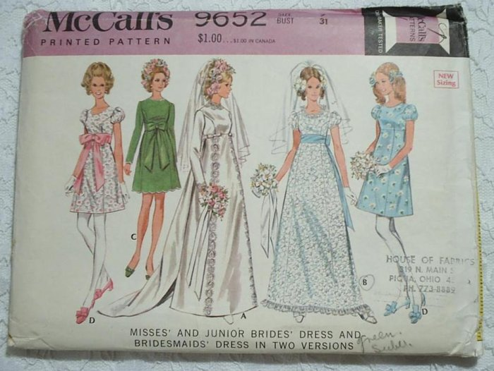 1969 BRIDAL & BRIDESMAID DRESSES PATTERN