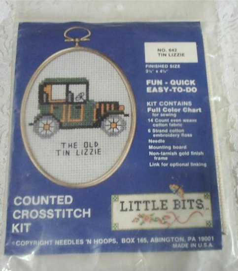 FREE SHIP - OLD TIN LIZZIE CROSS STITCH KIT