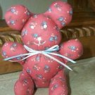 STUFFED ANIMAL HANDCRAFTED Mauve with flowers Fabric Looking for Good Home