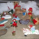 Assorted Colorful Ornaments Wood 12 in total