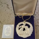 Gorham Parian Medallion Christmas Kiss ornament 1978