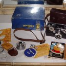 Argus C3 Brick Camera with leather case, orginal box and extras shown